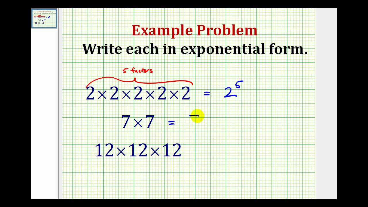 Example write repeated multiplication in exponential form youtube falaconquin