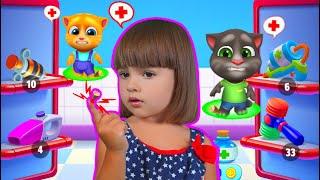 Арина играет в игре Мой Говорящий Том и друзья | Мама ухаживает за Ариной виртуальным питомцем