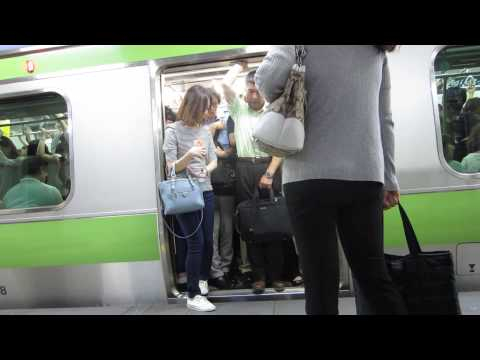 Extremely crowded JR Train in Tokyo