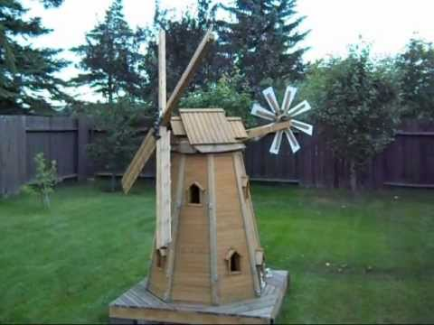 wooden homemade garden windmill by laszlo - YouTube