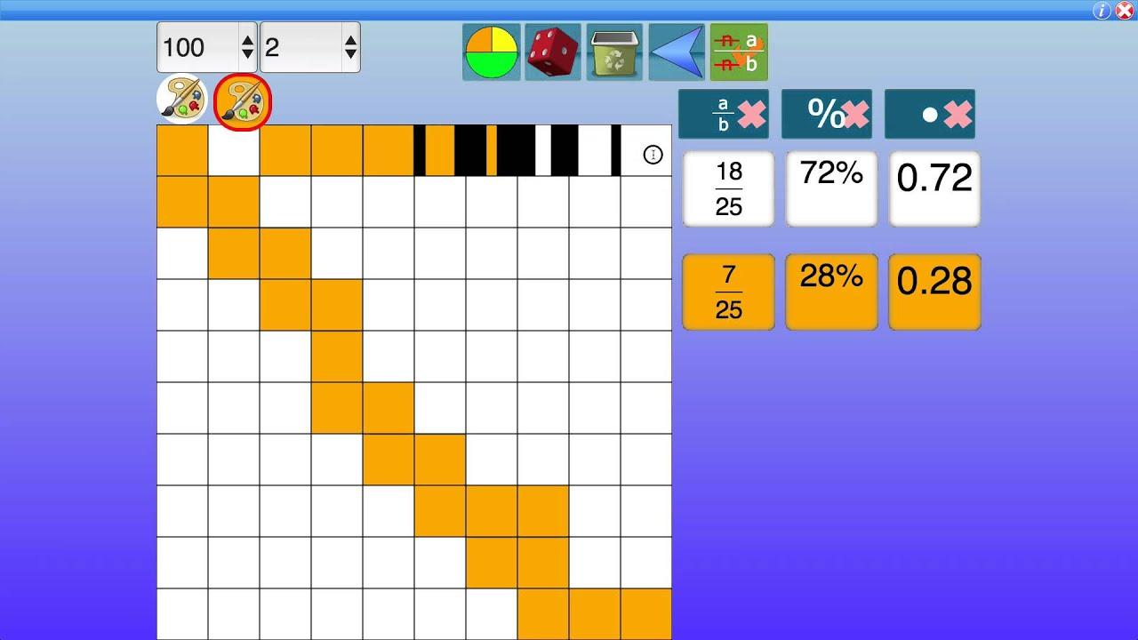 Interactive fraction decimal percentage grid - YouTube