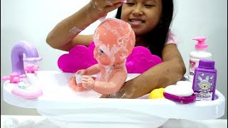 Mainan Anak Bak Bayi Gosok Gigi + Shampo 💖 Baby Doll Bath Toys 💖 Let's Play Jessica
