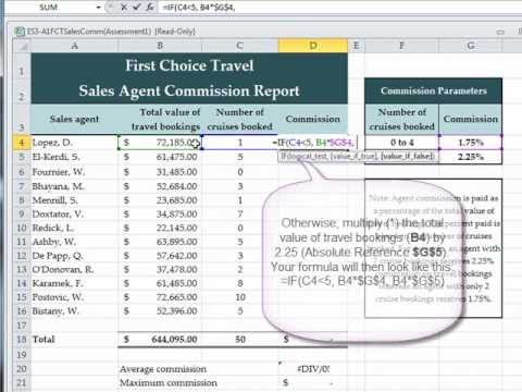 Excel   Assessment   If FunctionWmv  Youtube