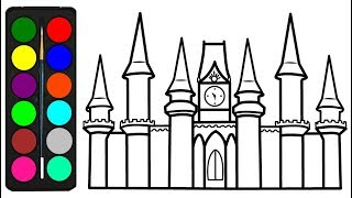 HOW TO DRAW CASTLE COLORING FOR KIDS CASTLE DRAWING AND COLORING FOR CHILDREN LEARN COLORS