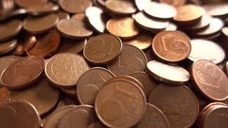 Many One Cents Euro Coins Rotating | Stock Footage - Videohive