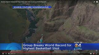 Group Breaks World Record For Highest Basketball Shot