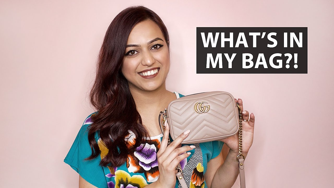 What S In My Bag Gucci Gg Marmont Mini Review Youtube