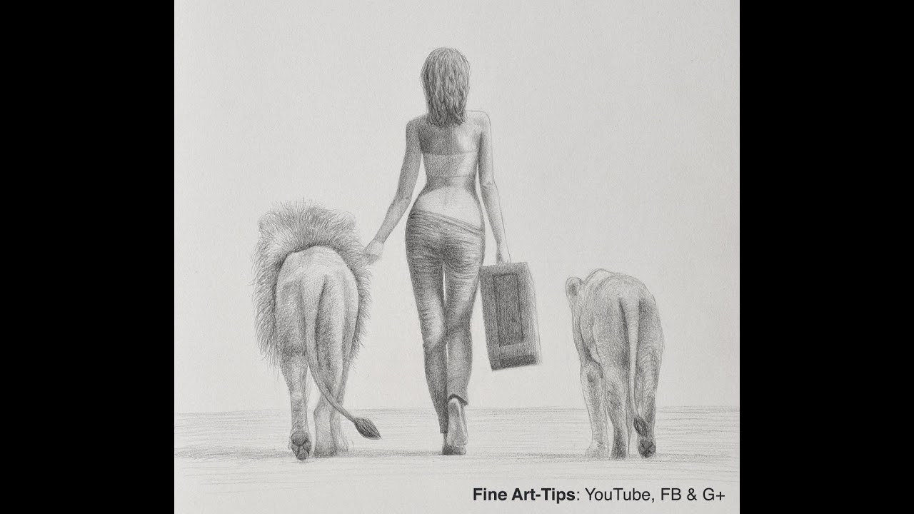 How To Draw A Woman Walking With Lions From Behind Youtube