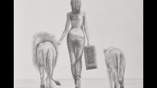 How to Draw a Woman Walking With Lions from Behind