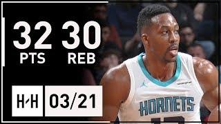 Dwight Howard MONSTER Full Highlights Hornets vs Nets (2018.03.21) - 32 Pts, 30 Rebounds