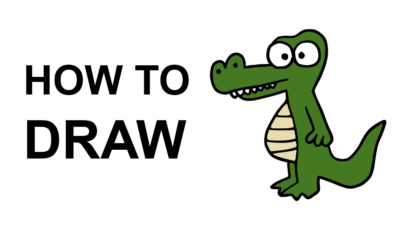 How to draw an alligator youtube for Easy to draw crocodile