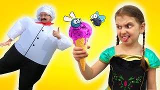 Elsa buys Ice Cream from a Clumsy Cook