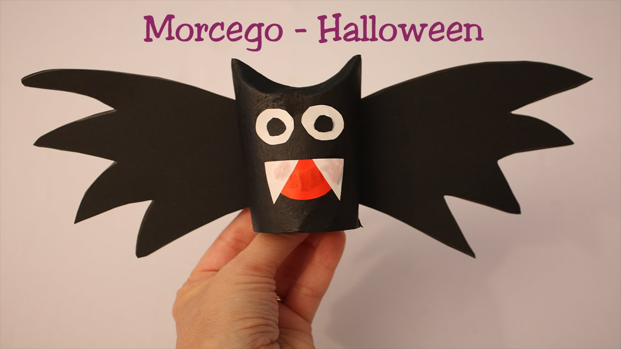 Morcego Vampiro para Halloween Muito fácil YouTube -> Decoração De Halloween Com Materiais Reciclados