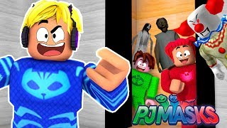 CAT BOY, OWL AND GECKO IN THE CRAZIEST ELEVATOR OF TERROR IN ROBLOX-PJ MASKS