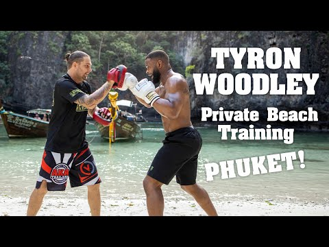 Tyron Woodley trains on a hidden beach in the Phi Phi islands!
