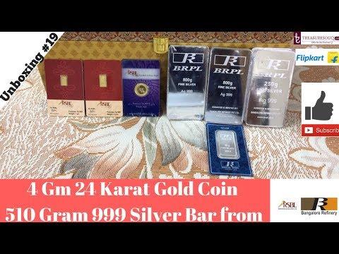 Unboxing 4Gm 24Karat Gold Coin & 500Gm Silver Bar Flipkart & Treasuresouq India 2018