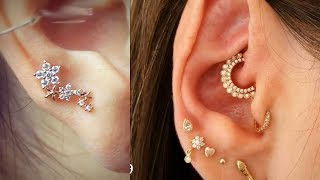 Beautiful Ear Lobe Piercings Fashion | Multiple Ear Piercing Stud and Ring Designs 2018