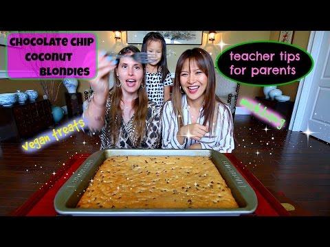 CHOCOLATE CHIP COCONUT BLONDIES • Mukbang & Recipe