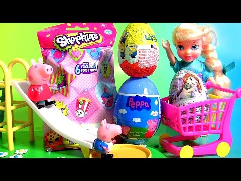 TOY SURPRISES ! Shopkins Blind Bag Peppa Pig Kinder Egg Minions Princess Sofia The First Kids Toys