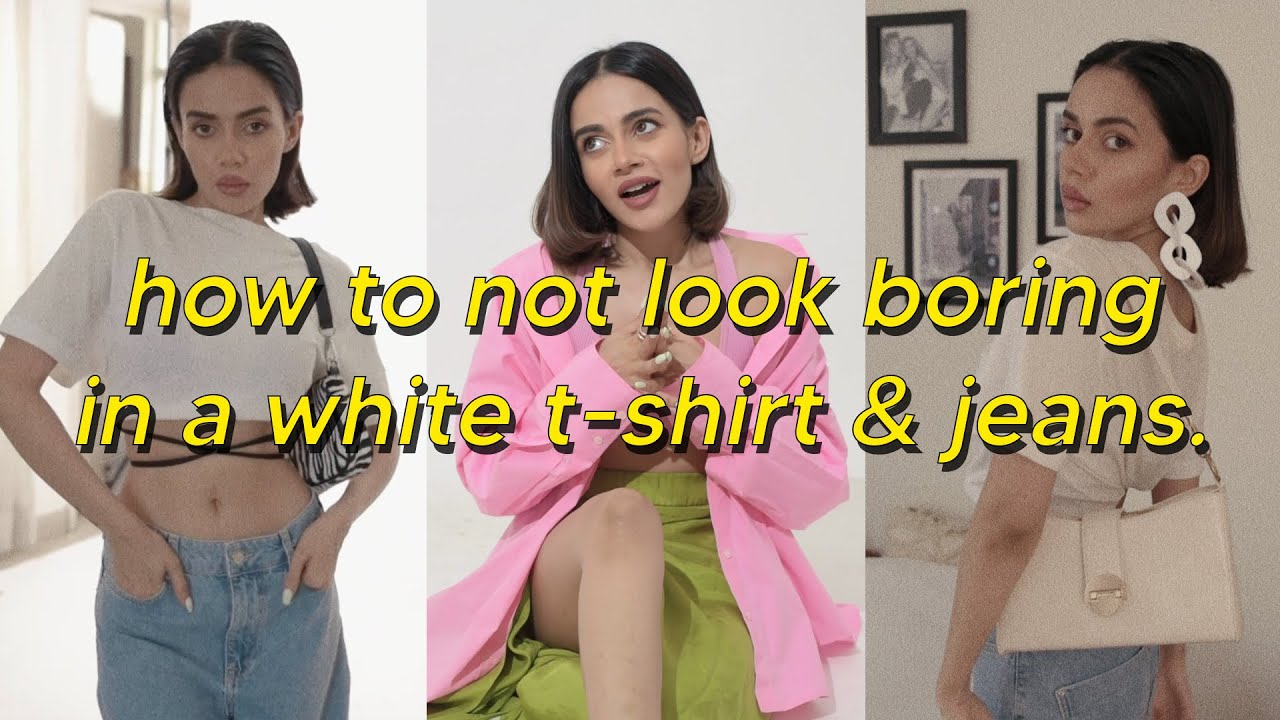 recipe to not look boring in a white t-shirt & jeans.   Komal Pandey