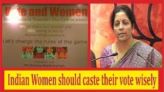 Indian Women should caste vote wisely in Elections 2014 - Nirmala Seetharaman at Hyderabad