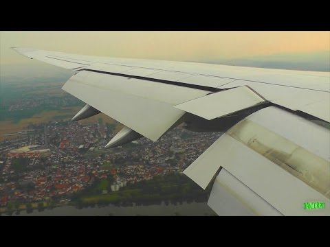 Lufthansa 747-8 Graceful Descent, Landing and Taxi at Frankf