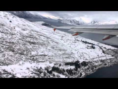 Stunning take-off from snowy Queenstown airport