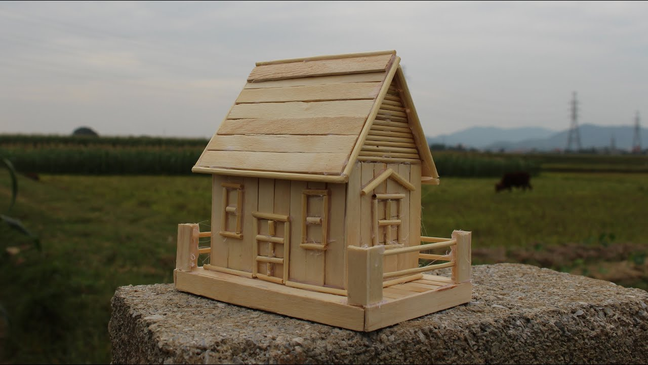 How to make a popsicle stick house simple tutorial youtube for Simple house design made of wood