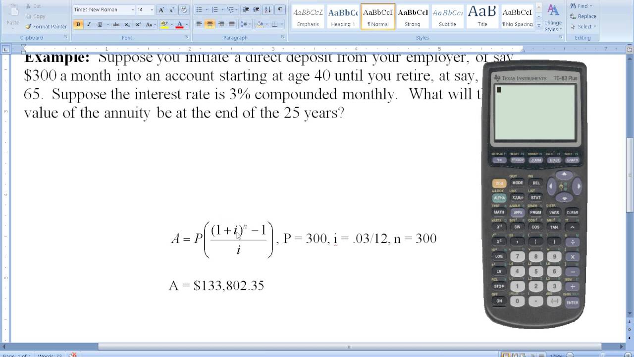 computing the value of a deferred annuity retirement youtube