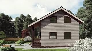 """Проект каркасного дома 7*7 с террасой и двумя гардеробами на втором этаже от """"Строй и Живи"""""""