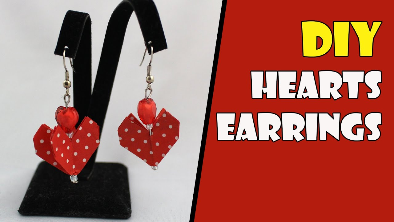 Origami Earrings Hearts (Origami Jewelry) Instructions ...