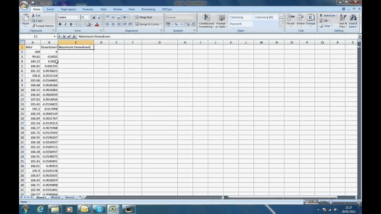 Vscap How To Calculate Maximum Drawdown In Excel