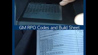 Reading GM RPO Glovebox Codes and Build Sheet
