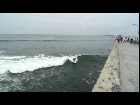"Surfer celebrates 50th Anniversary of Ocean Beach Pier by ""shooting the pier""!"