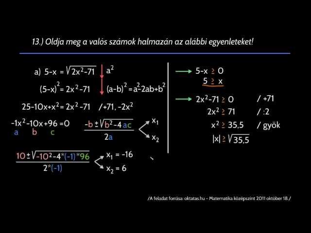 13/a feladat - másodfokú egyenlet