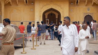 Indian crowd walking in and out of the Nahargarh Fort's door - travel concept