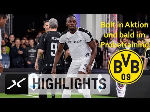 Stollen statt Spikes: Usain Bolt spielt mit Legenden | Hublot | Bundesliga | BVB | SPOX