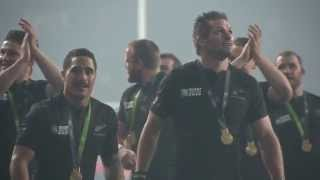 All Blacks celebrate winning Rugby World Cup - in Slo Mo!