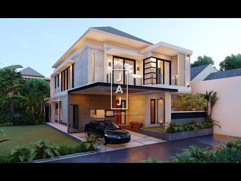 visualisasi 3d desain rumah tinggal 2 lantai luas 200m2