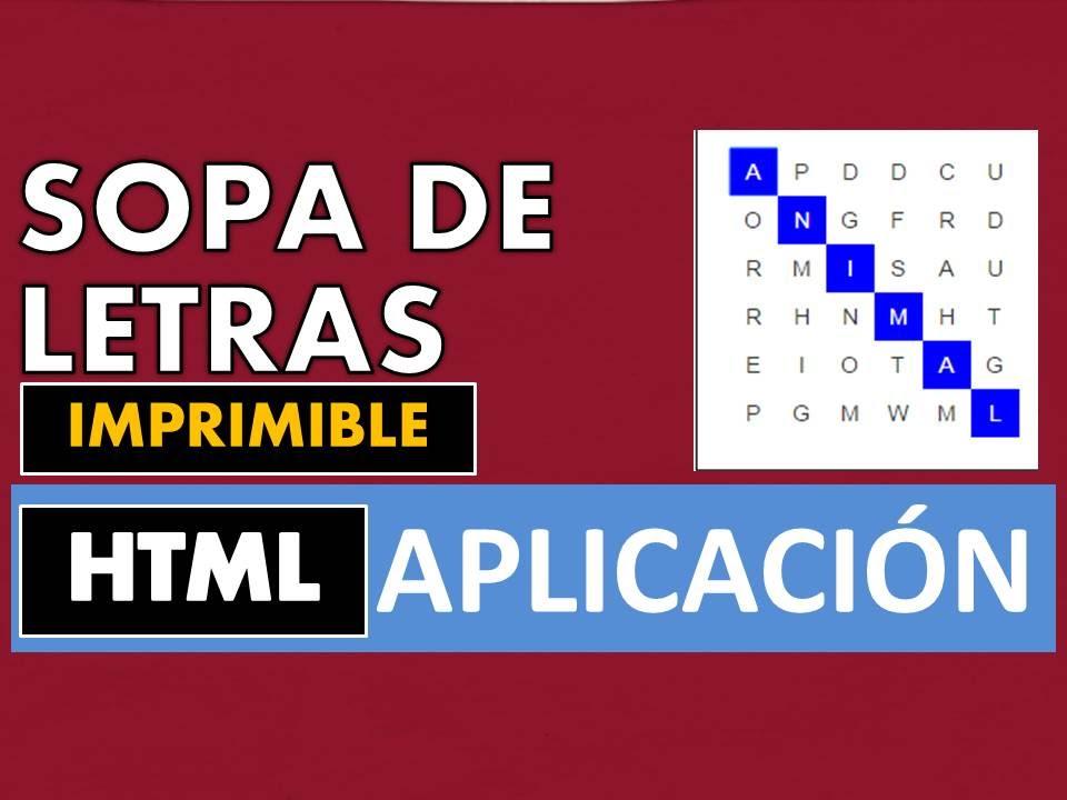 Crear Juego Sopa De Letras Html5 Web Juego Nº 13 Intermedio Y