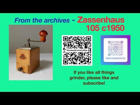 Demonstration – Small German 'knee'-type coffee grinder by Robert Zassenhaus
