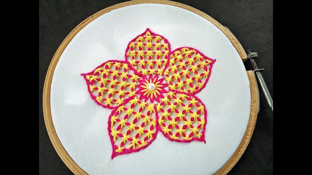 Hand Embroidery   Checkered Stitch Flower Embroidery   Fantasy Flower