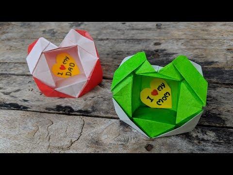 DIY How to Make Origami Gift Box / Heart Box