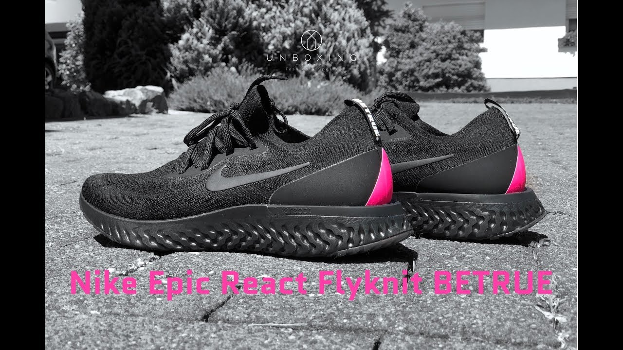0f47d96531bb Nike Epic React Flyknit BETRUE  Black Black-pink blast