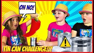Tin Can Challenge!!  Kids Food Challenge! | Kids Vs. Food