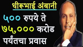५०० रुपये ते ७५००० करोडचा प्रवास | Dhirubhai Ambani Success Story In Marathi