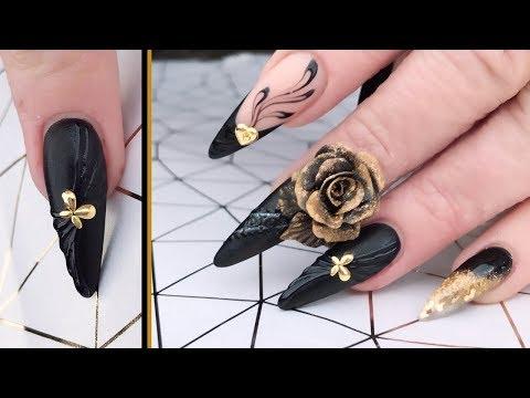 Black Matte Nail with Embossed Gel Polish Design
