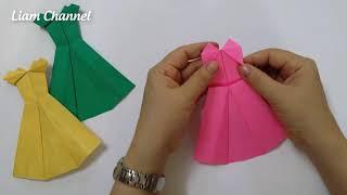 Cách gấp đầm Công Chúa bằng giấy cực xinh | princess dress Origami | Liam Channel