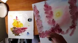 Розовый пейзаж .Полный урок.Научиться рисовать.