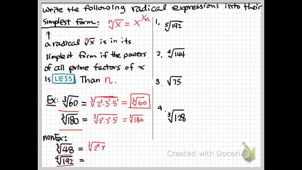simplest form 2/4  evhs algebra 14144 unit 144 topic 144 part 14 radical simplest form ...